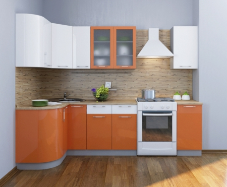 Кухонный гарнитурФьюжн глянец оранжевый-белый